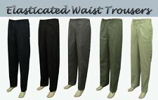 New Mens Fully Elastic Waist Smart Casual Rugby Trousers Pants - Beige Black