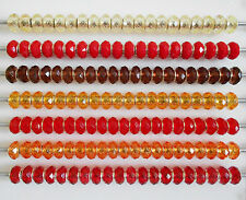 6 x  RED YELLOW OR BRONZE FACETED ACRYLIC BEADS EUROPEAN CHARM BRACELET