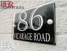 MODERN HOUSE SIGN / PLAQUE / DOOR / NUMBER / GLASS EFFECT ACRYLIC