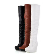 New Women's Sexy Platform Wedge Heels Over The Knee Thigh High Heel Boots Shoes