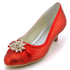 EP2101 Red Women Bridal Closed Toe Low Heel Glitter Pearls Prom Party Shoes