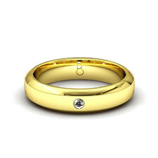New Men's 18 Carat Yellow Gold Diamond Wedding Ring 0.03ct 4.5mm Bevelled Heavy