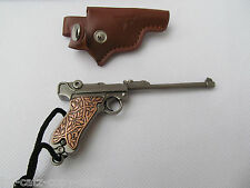 NEW COLLECTABLE SOLID METAL LUGER PISTOL GUN KEYRING & LEATHER POUCH FREE UKP&P