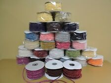 24YARDS OF 4MM FAUX PEARL PLASTIC ON A STRING CRAFT ROLL(CHOOSE FROM ANY COLORS)
