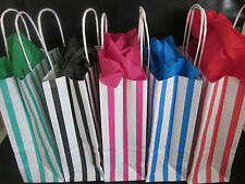 PARTY FAVOUR PAPER GIFT BAGS - BIRTHDAY CANDY STRIPE LOOT BAG -WITH TISSUE PAPER