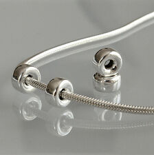 10 x 4 mm Flat .925 Sterling Silver Hollow Spacer Beads Bracelet Charm