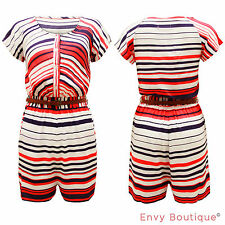 New Ladies Stripe Print Buttoned Belted Womens Top Shorts Jumpsuit Playsuit 8-16