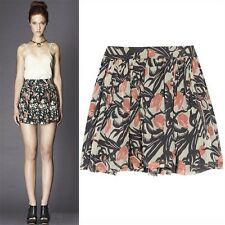 Winter Kate - Callix Mini Skirt in Flower Print 12B - 100% Vintage Silk Chiffon