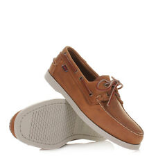 MENS SEBAGO DOCKSIDE LEATHER BROWN WHITE BOAT DECK SHOES DOCKSIDERS SIZE 6-11.5