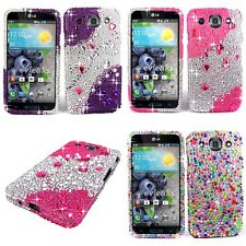 LG Optimus G Pro E980 Pink Purple Bling Jewel Rhinestone Diamond Hard Case Cover