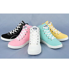 Women's Comfy Canvas High Top Lace Up Zip Sneakers Fashion Trainers