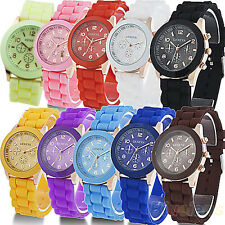 Fashion Women Men Couple Geneva Silicone Jelly Gel Quartz Sports Wrist Watch