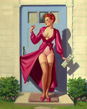 Vintage Pin Up Girl ART FRAHM Caught in the Door Wall Art Canvas Print s