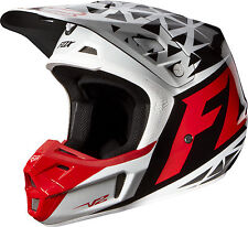 NEW 2014 FOX RACING MX ATV MOTOCROSS RED / WHITE V2 GIVEN HELMET MENS ADULT BMX