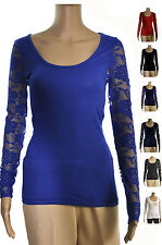 Sleeves Lace Stretch TEE SHIRTS Women Junior  Blouse Top Sz. S, M, L