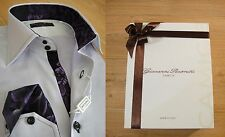 NEW GIOVANNI ROSMINI MENS SLIM FIT DRESS SHIRT IN PURPLE WITH CONTRAST