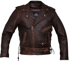 Mens Brown Distressed Leather Marlon Brando Biker Motorcycle Armoured Jacket