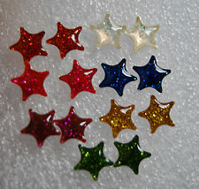 Stars sparkling studs earrings in 7 different colours with stoppers