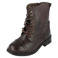 GIRLS LACE UP MILITARY BOOTS H4059