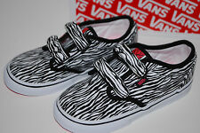 NEW NIB VANS KIDS ATWOOD V ZEBRA VELCRO shoes 5 6 7 8 9 10 black / pink
