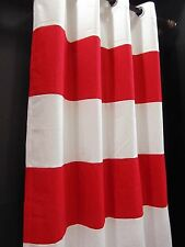 CA129-132 White Red Thick Stripe Cotton Canvas Curtain x 1 Panel (Custom made)
