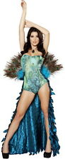 Sexy Adult Women Pretty Exotic Peacock Animal Costume Halloween Outfit New