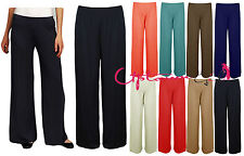 C90 WOMENS LADIES BAGGY FLARED PALAZZO PANTS WIDE LEG TROUSERS 8-18