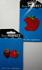NEW FRUIT  Embroidered Appliques Iron On  *Your Choice Design* Apple Strawberry