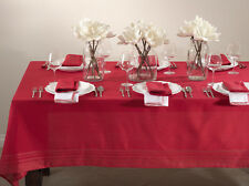 Holiday Iridescent Plaid Design Tablecloth, Red Color, One Piece, 4 Sizes