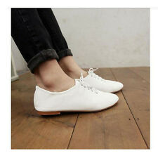 F Womens White Shoes Vintage Flats Heels Classics Lace Up Dress Oxfords Fashion