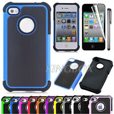 Black Rugged Rubber Hard PC Hybrid Shockproof Matte Case Cover For iPhone 4 4S