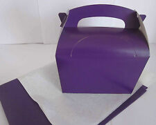 PURPLE FAVOUR PICNIC LUNCH MEAL BOXES - PARTY FOOD GIFT BOX AND x2 TISSUE PAPER