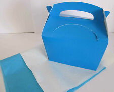 LIGHT BLUE GIFT BOX AND x 2 TISSUE PAPER FAVOUR PICNIC LUNCH MEAL BOXES - PARTY