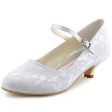100120 Low Heel Pump Mary Jane Closed Toe Buckle Lace Satin Wedding Bridal Shoes