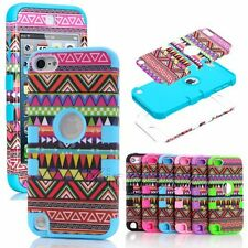 Hybrid High Impact Red Tribal Silicone + Hard Case Cover for Apple iPod Touch 5