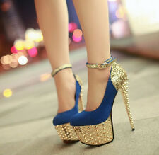 Sexy Woman's sparkling sequins rivets shoes waterproof high heel shoes