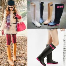4 Colors Womens Flat Wellie Knee High Korea Style Snow  Rain Boots Riding Boots