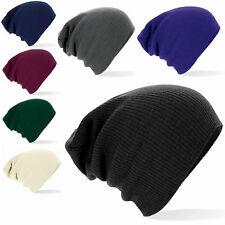 MENS/LADIES KNITTED SLOUCH BEANIE OVERSIZED WINTER HAT BAGGY IN 7 COLOURS