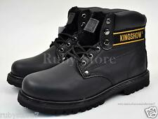 KINGSHOW Men's Black Work & Safety Genuine Leather Boots Shoes Wide(E, W) 8036-2