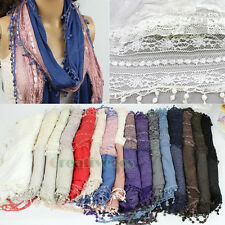 Fashion Women Net Lace Floral Stripe Stitching Warm Scarf Wrap Lace Trim Tassel