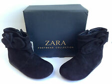 NEW ZARA BABY BLACK SUEDE LEATHER KNOT PIXIE BOOTS NIB SIZE UK3- UK6 RRP £25