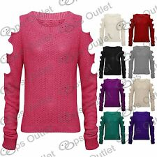 New Womens Ladies Cut Out Long Sleeves Baggy Sweater Knitwear Knitted Jumper Top