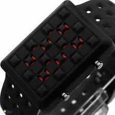 NEW Fashion Colorful Red LED Wrist Watch Faceless Digital Mens Womens Dial Sport
