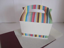 STRIPE FAVOUR PICNIC LUNCH MEAL BOXES - PARTY GIFT BOX  AND  x2 TISSUE PAPER