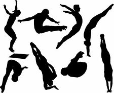Divers Silhouettes Wall Art Sticker Present Gift Diving High Board Big Splash
