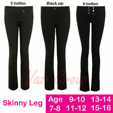 New Miss Sexies Reverse Trousers Girls Plain Black Skinny Leg Trousers Age 7-16
