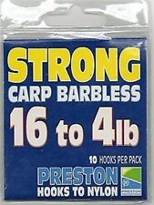 NEW PRESTON INNOVATIONS CARP BARBLESS STRONG HOOKS TO NYLON FOR COARSE FISHING