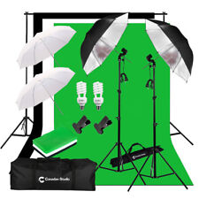 Studio umbrella 400W lighting kit B/W/G muslin backdrops Support System Kit