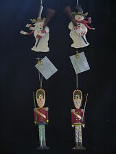 GISELA GRAHAM PAINTED TIN CHRISTMAS TREE DECORATIONS - TIN SNOWMAN & TIN SOLDIER