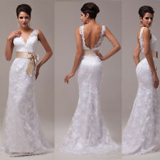 Floor Length Sexy Deep V Back Lace Formal Evening Bridal Wedding Dress Prom Gown